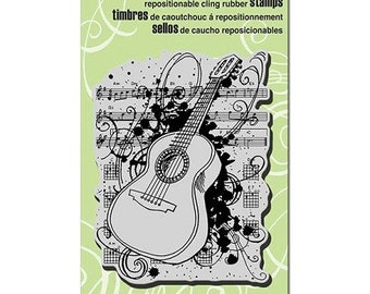 Music Stamp, Stampendous, Acoustic Sounds, Guitar, Rubber Stamp, Card Making, Paper Craft