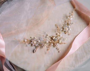 Bridal Headpiece - Wedding Headpiece - Bridal Hair Piece -Decorative Hair Adornment-Gold floral Bridal Hair Comb -Wedding crystal Hair comb