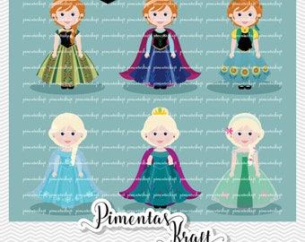 Digital Clipart-Little Princess-Frozen and Flowers,little princess clipart,little princess frozen clipart,princess flowers clipart,clipart