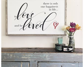 To Love and Be Loved - Happiness - Framed Hand Lettered Canvas Art - Modern Calligraphy - Hand lettering Sign