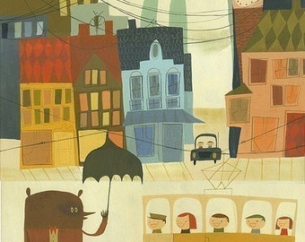 Rupert and Leonard wait for the tram on their Swedish holiday.  Limited edition print.