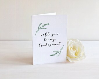 Will You Be My Bridesman Card - Bridesman Proposal - Greenery Card