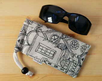 Glasses case,sunglasses case,printed pouch,canvas case,quilted glasses case,sunglasses cover,glasses bag,glasses soft case,gray glasses case