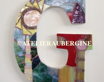 Letter G # 4, typography with stained glass mosaic