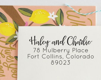 Modern Calligraphy Address Stamp | Return Address Stamp | Stamp Self Inking | Save the Date | Custom Rubber Stamp| Invitation, No. 81