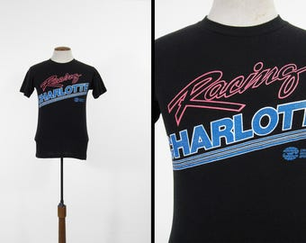 Vintage 80s Racing Charlotte T-shirt Paper Thin Auto Speed Track - Small