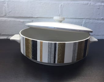 Vintage striped Queensberry Midwinter tureen or serving bowl perfect for a casserole 1960's