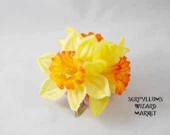 Yellow/Orange Daffodil Narcissus with Pink Daisy Flower Hair Clip