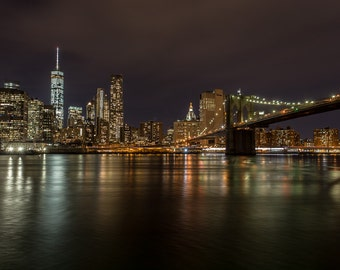 New York City Skyline, NYC Night Photography, New York Skyline, NYC Lights, New York Photography, NY Art, Night Photography