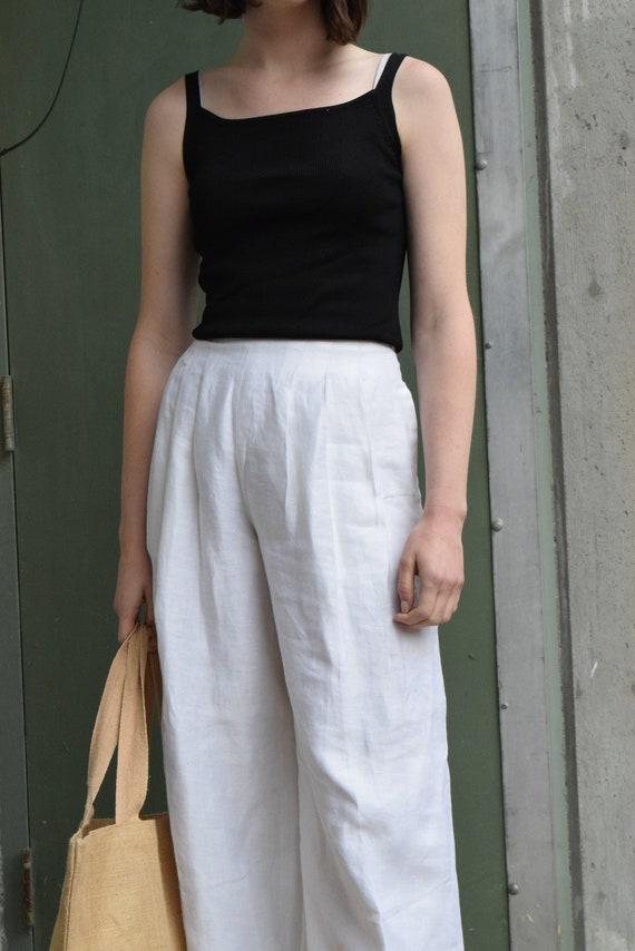 Escada High-Waist White Linen Pants