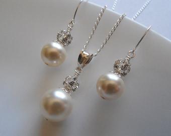 Bridal Set, Bridesmaids gift, Rhinestone Crystal and Swarovski Round Pearl Set, Vintage Style Bridal Set, Weddng Jewelry