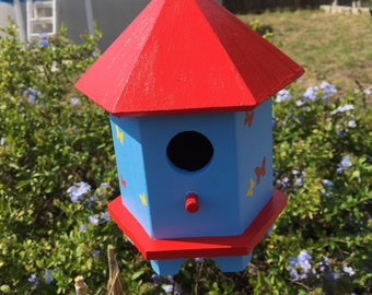 Wood Birdhouse Blue and Red