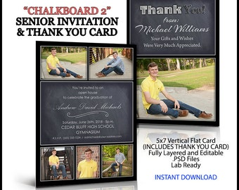 2018 Invitation and Thank You Card For Senior Graduation. Photoshop Template. Chalkboard 2 style. Vertical. 5x7 in size. Easy to use.