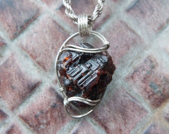 Rare Etched Garnet Pendant, Sterling Silver Wire Wrapped Stone Pendant, Stone Wire Wrap Pendant, Etched Garnet Wire Wrapped Pendant