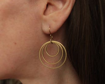 Triple Hoop Brass Earrings