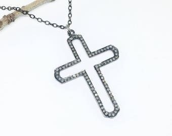 Pave Diamond Cross Pendant/  necklaces set in sterling silver 925. Length- 2 inches. Diamond Carat weight - 1.35