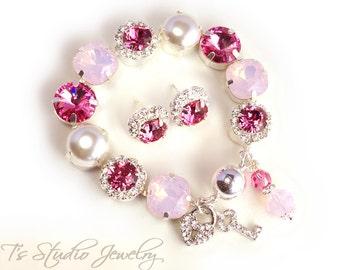 Tickled Pink Rose Opal Pearl Bridesmaid Wedding Bracelet - 12mm