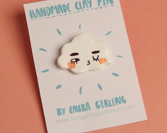 Winking Cloud Pin Badge | Quirky Handmade Accessory | Cute Badge