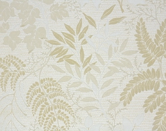 Retro Flock Wallpaper by the Yard 70s Vintage Flock Wallpaper - 1970s Flock Botanical with Tan Leaves and Fern Fronds on White