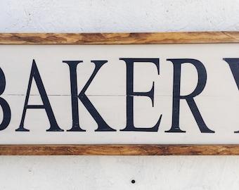 Wooden bakery sign, handpainted, farmhouse, framed