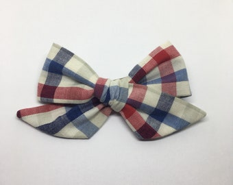 July 4th Plaid Knot Bow - Red White Blue Plaid Bow - Plaid Hand Tied Hair Bow - Red Blue Plaid Fabric Bow - 4th of July Knot Bow