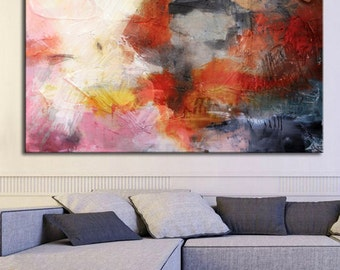 Abstract painting red, red Pink grey print, modern painting red, Giclee Print, red large print, huge wall art, large painting, wall decor
