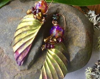 Rainforest,  Stunning one of a kind ,chartreuse,garnet and Helen Backhouse earrings