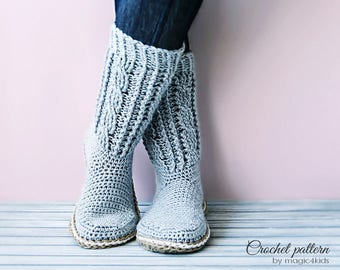 Crochet pattern: women boots with rope soles,soles pattern included,all women sizes, loafers,slippers,socks,adult,girls,cables,cord,twine