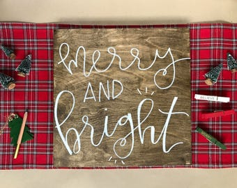 Merry and Bright Wood Sign - Cozy Christmas Decor