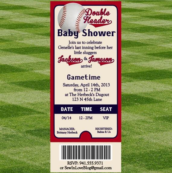 Béisbol invitación de ducha de bebé para los gemelos