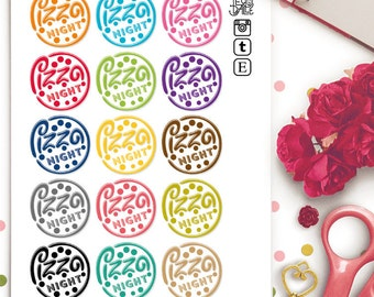 Pizza Night Planner Stickers | Life Planner | Food | Meal | Junk Food | Take Out |