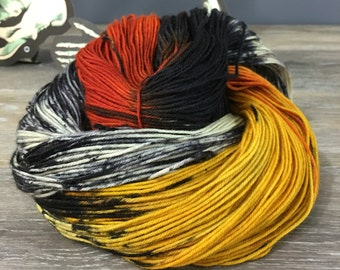 Beistle - Halloween Yarn Hand Dyed Variegated Sock DK or Worsted Weight Yarn, Superwash Merino Nylon Cashmere, Various Base Options