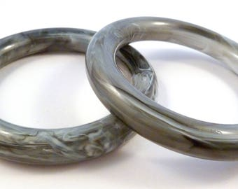 Two Vintage Bangles, Gray Marbled,  Lucite Bangles, Matching Bracelets.