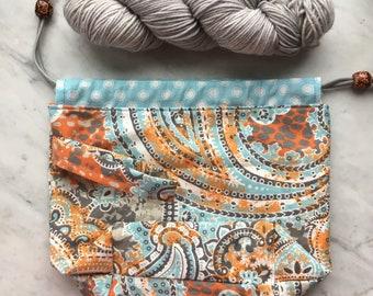 Knitting Take-along Project Bag/Orange & Aqua/Handmade/Gifts for Knitters/Repurposed/Drawstring bag/Crochet bag/
