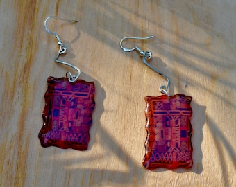 Bohemian earrings Peruvien inspiration silver chaine and resin