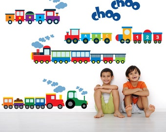 Train Wall Decal REUSABLE Fabric Wall Decals for Kids, Boys Decal, A212