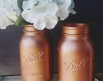 Metallic Copper Mason Jar Vase/ Shabby Home Decor/ Party Centerpieces/Ball Mason Jar