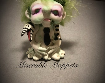 BEETLEJUICE doll, ooak doll, handmade sculpture, one of a kind, ooak art doll, gothic art doll,