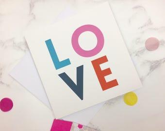 LOVE Card - Wedding Card - Anniversary Card - Friendship Card - Art Card - Romantic Love Card - I Love You Card - Typoraphic Love Card