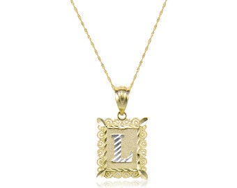 10K Solid Yellow White Gold Initial Letter Plate Pendant Singapore Chain Necklace Set - A-Z Any Alphabet Charm