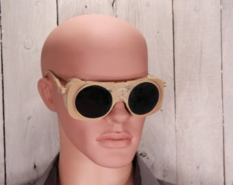 Welding goggles - Welding flip up glasses - Steampunk goggles - Vintage safety glasses - Industrial accessories - Cyberpunk goggles