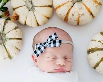 baby bow headband, girls headband, baby hair accessory, baby headband, Baby Girl Headband, baby girl headbands. BLACK PLAID Schoolgirl Bow