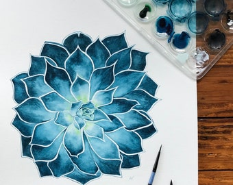 Blue Succulent Print from Original Watercolor Painting