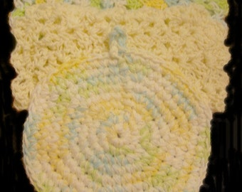 Hot pad, dish cloth, kitchen accessories, yellow, crochet