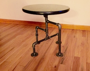 Industrial Black Pipe Table End Man Cave Bar Steampunk