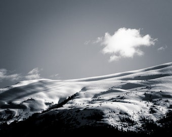 Mountain Photography Landscape Wall Art- Black and White Alaska Photography Home Decor Fine Art Photography Large