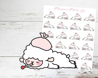 Lamb Planner Stickers // Sick // Cold // Flu // 009