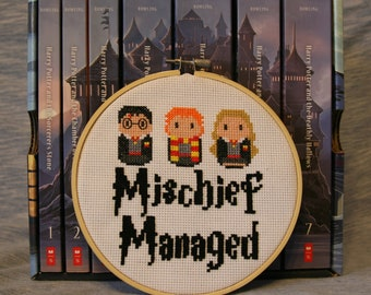 Mischief Managed - Harry Potter, Completed Cross Stitch