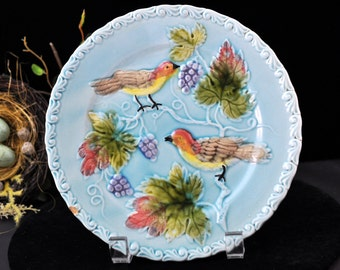 Beautiful Majolica Bird Plate, Vintage majolica, Chip, Beautiful Blue Antique majolica pottery, over 120 pc. majolica in our shop, #1559
