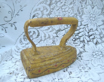 vintage sad iron, Antique Cast Iron, painted Folk art